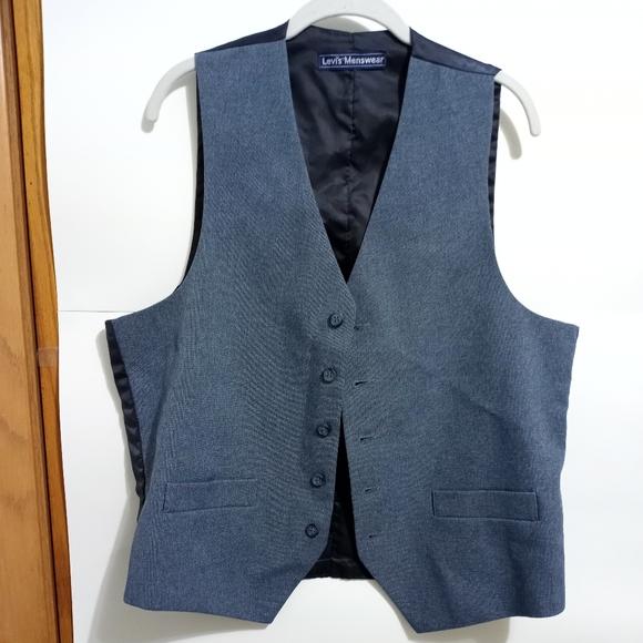 "VTG Levi's Menswear Denim Vest 21"" p2p"